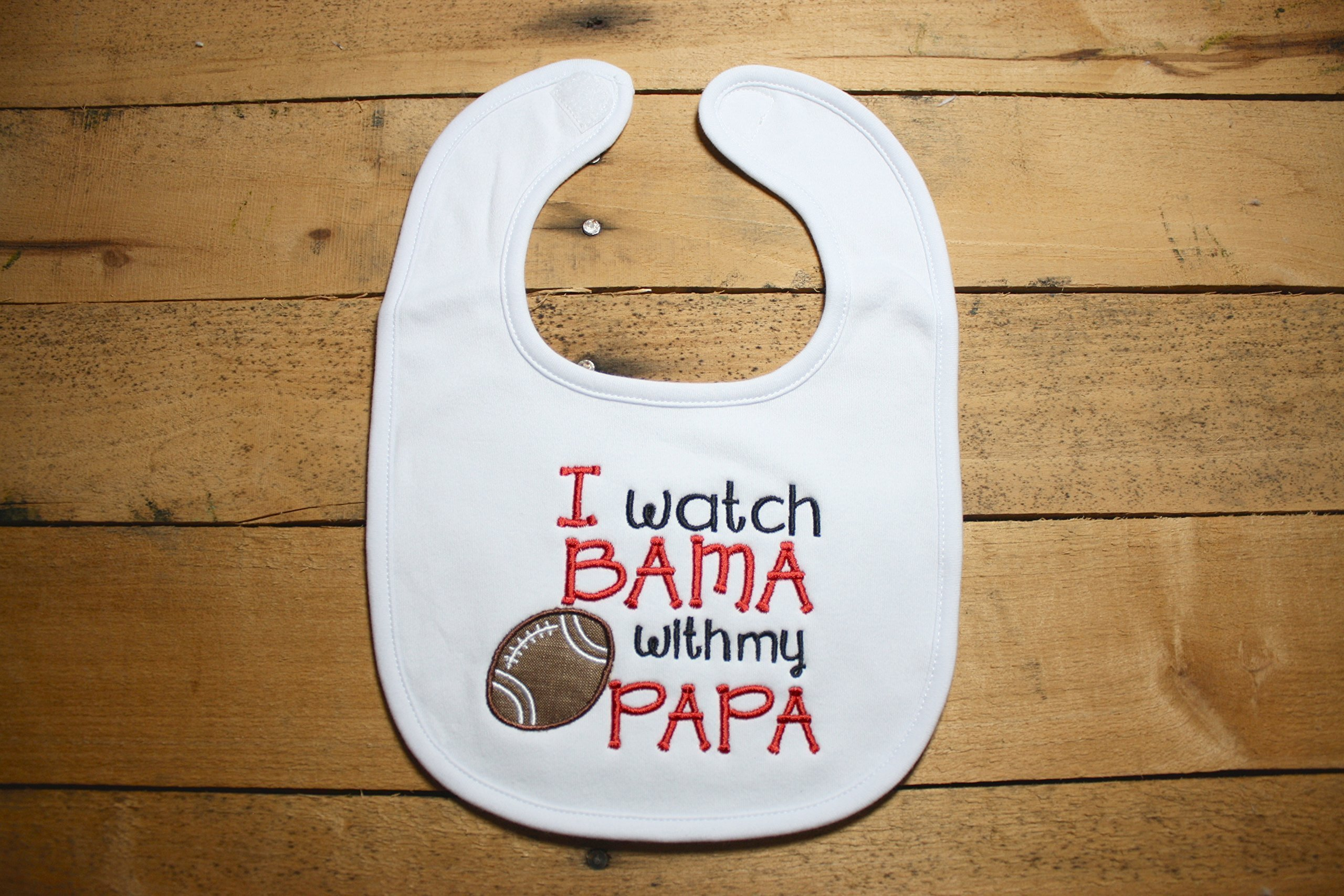 Bama Baby Bib Roll Tide Alabama I Watch With my PaPa Football Elephant Crimson Outfit Sorry for Spitting up Thought I saw a Tiger Fan