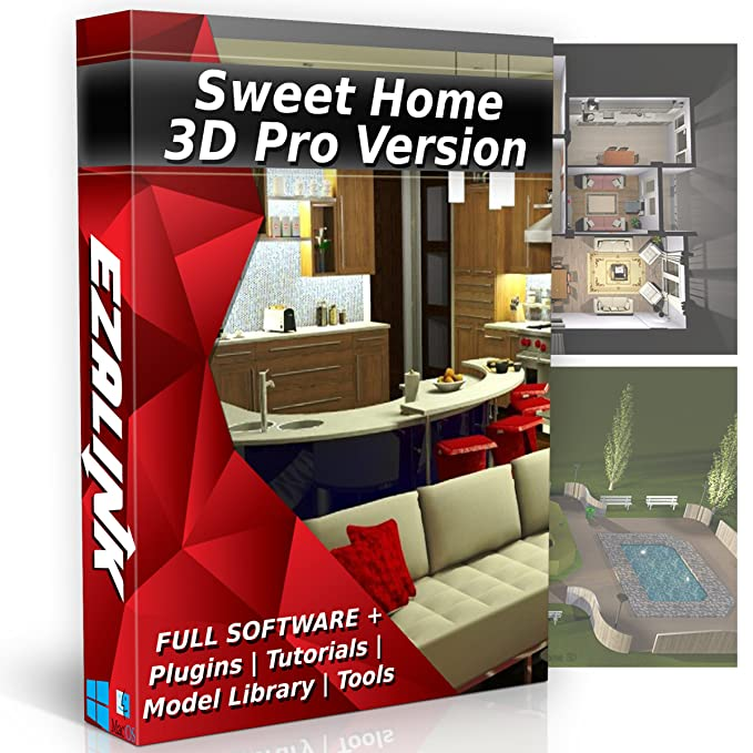 Sweet Home 3D Interior Design House Architect Designer Suite Software PRO W/ 3D Models,