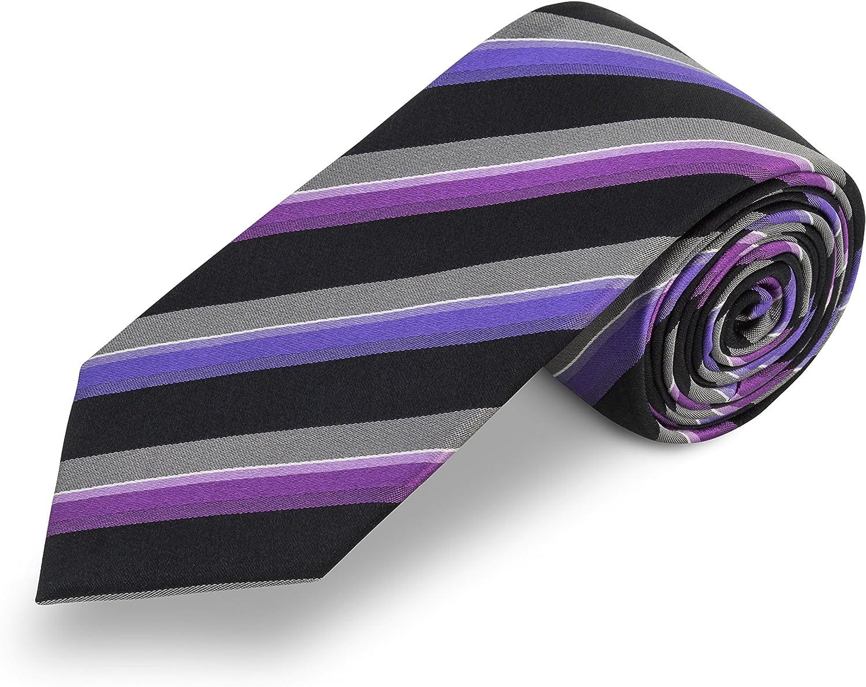 Corbata negra a rayas lila. 100% seda: Amazon.es: Ropa y accesorios