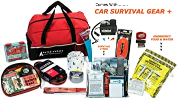 AutoClubHero Car Emergency Kit 185 Pieces With Survival Gear Jumper Cables First Aid