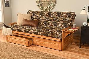 Kodiak Furniture Phoenix Full Size Futon in Butternut Finish with Storage Drawers, Peter's Cabin