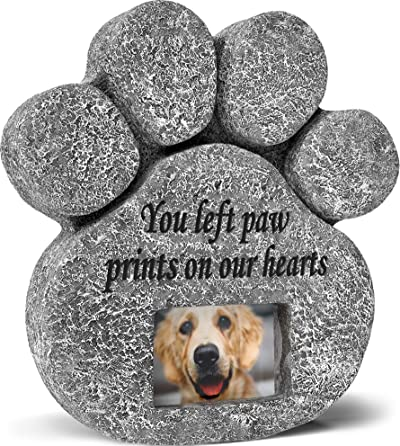 'You Left Paw Prints On Our Hearts' Paw Print Pet Memorial Stone