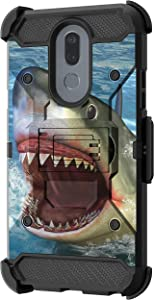 TurtleArmor | Compatible with LG Stylo 5 Case | Stylo 5 Plus Case | Stylus 5 Case [Armor Pro] Armor Full Body Rugged Hybrid Kickstand Holster Belt Clip Case Sea Ocean - Shark Attack
