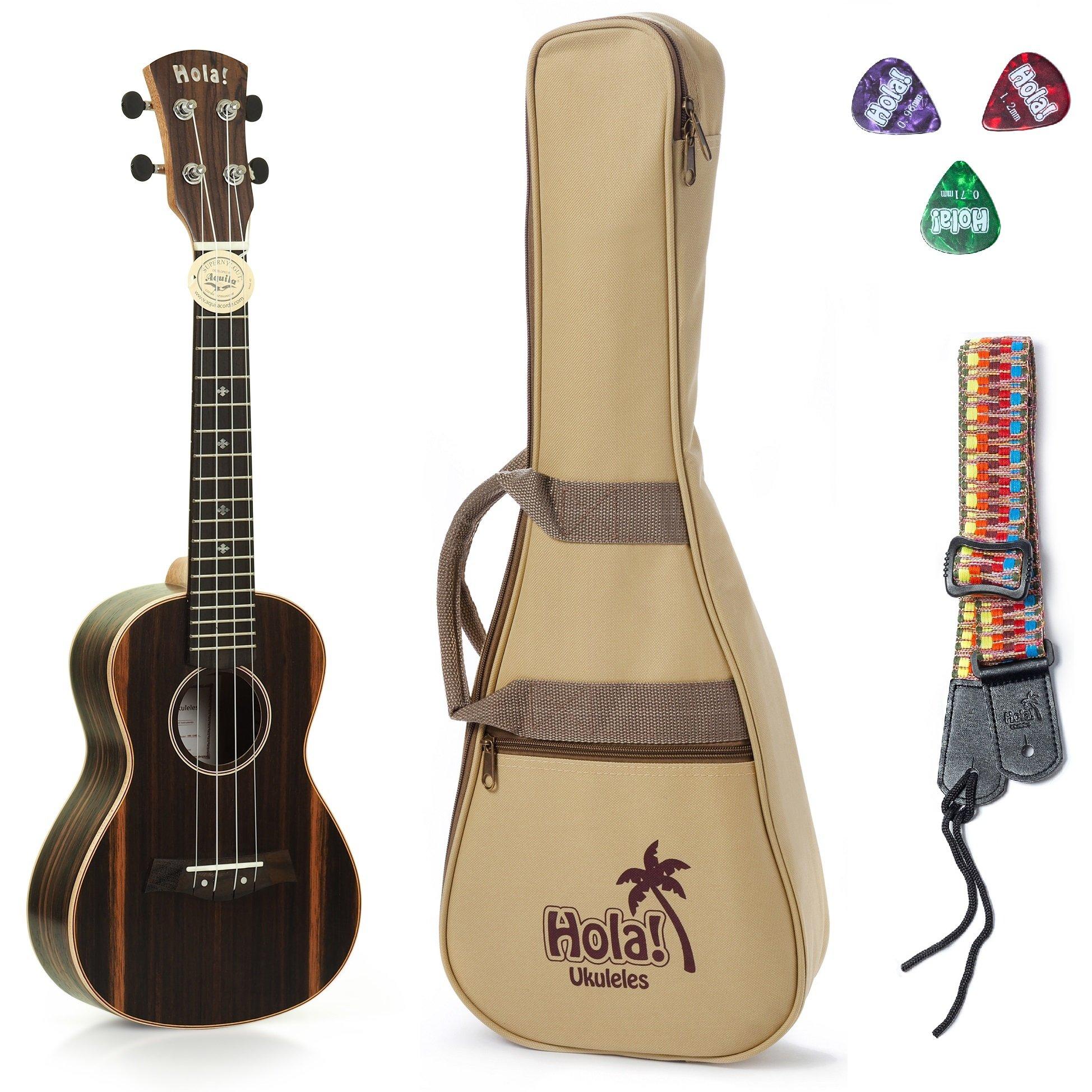 Concert Ukulele Deluxe Series by Hola! Music (Model HM-124EB+), Bundle Includes: 24 Inch Ebony Ukulele with Aquila Nylgut Strings Installed, Padded Gig Bag, Strap and Picks - Limited Edition