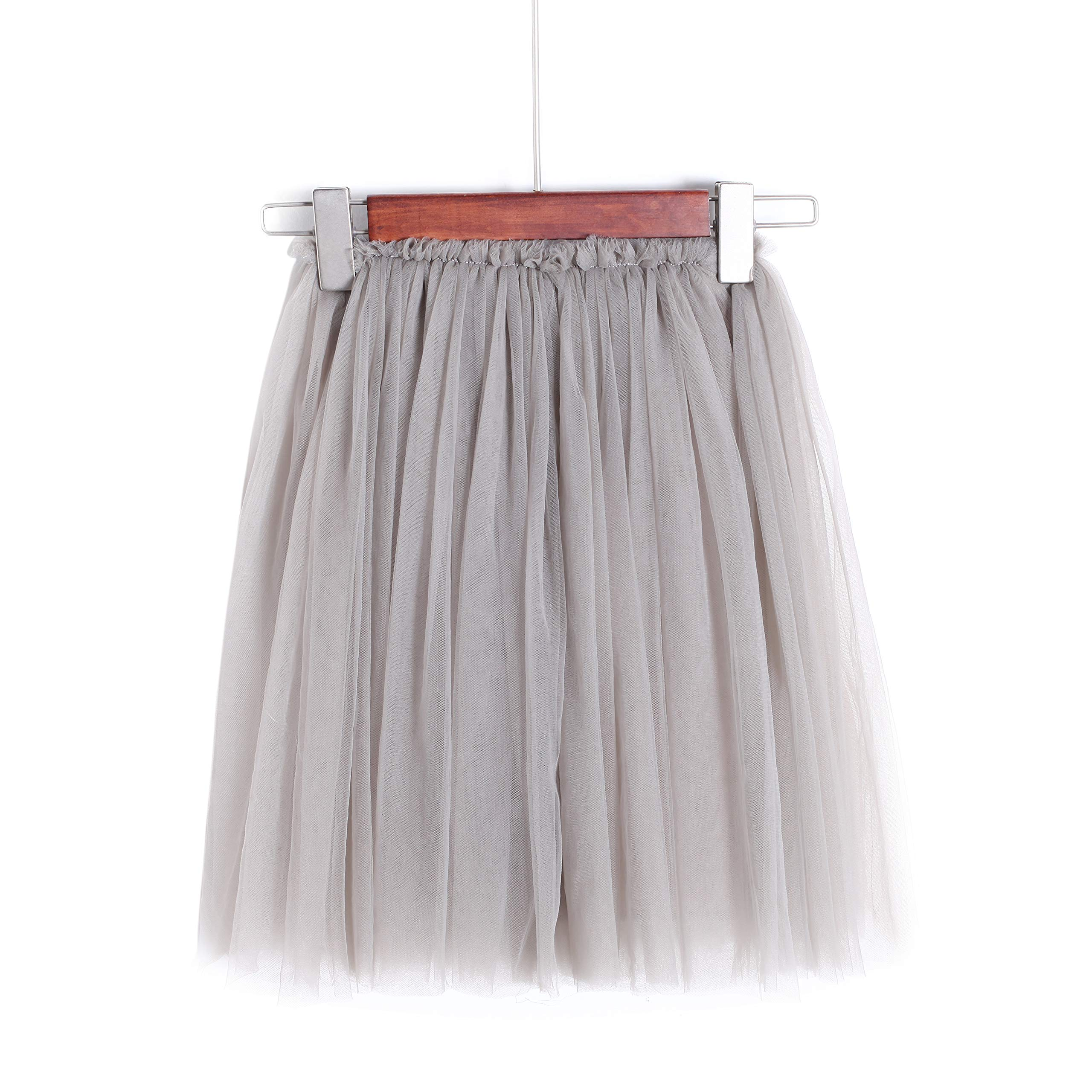 Flofallzique Tulle Tutu Girls Skirts for 1-12 Years Old Dancing Party Toddler Clothes(6, Gray) by Flofallzique (Image #2)
