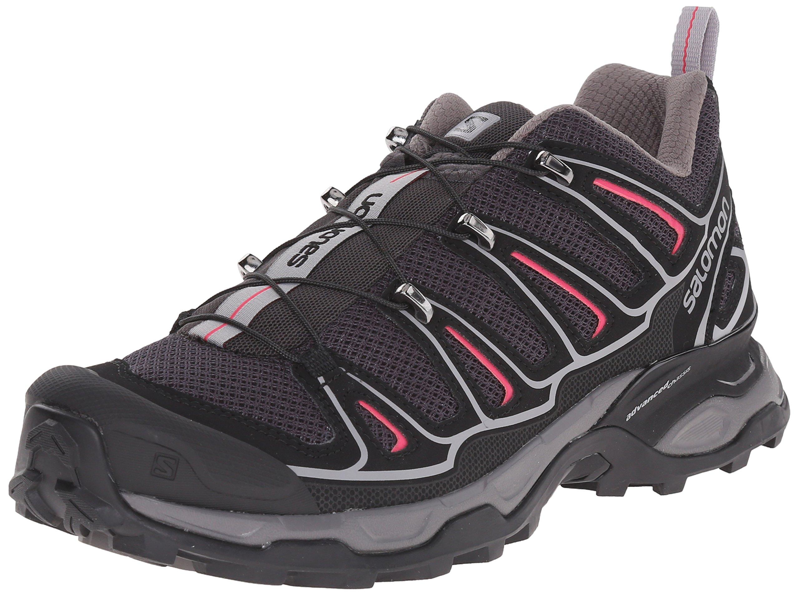 Salomon Women's X Ultra 2 W Hiking Shoe, Asphalt/Black/Hot Pink, 7.5 B US