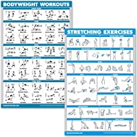 QuickFit Bodyweight Workouts and Stretching Exercise Poster Set - Laminated 2 Chart Set - Body Weight Exercise Routine & Stretching Workouts