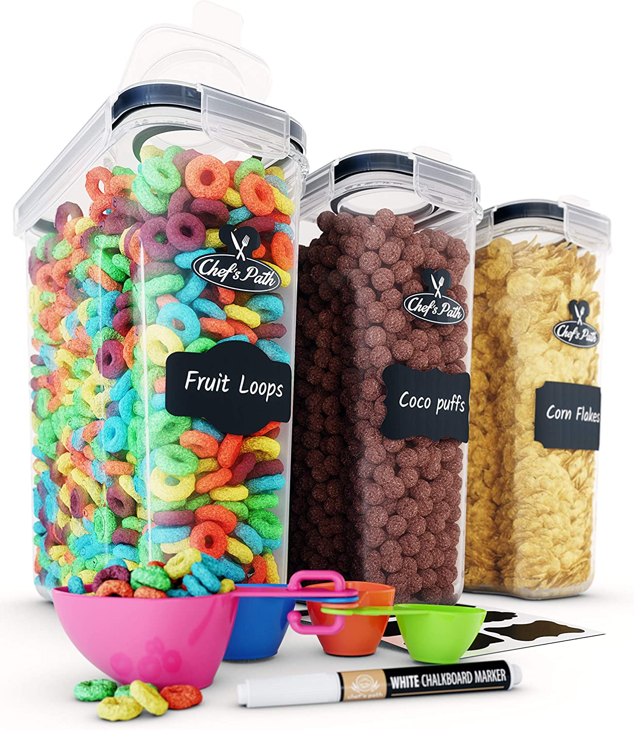 Cereal Container Storage Set - Airtight Food Storage Containers, 8 Labels, Spoon Set & Pen, Great for Flour - BPA-Free Dispenser Keepers (135.2oz) - Chef's Path (3): Kitchen & Dining