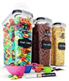 Cereal Container Storage Set - Airtight Food Storage Containers, 8 Labels, Spoon Set & Pen, Great for Flour - BPA-Free…