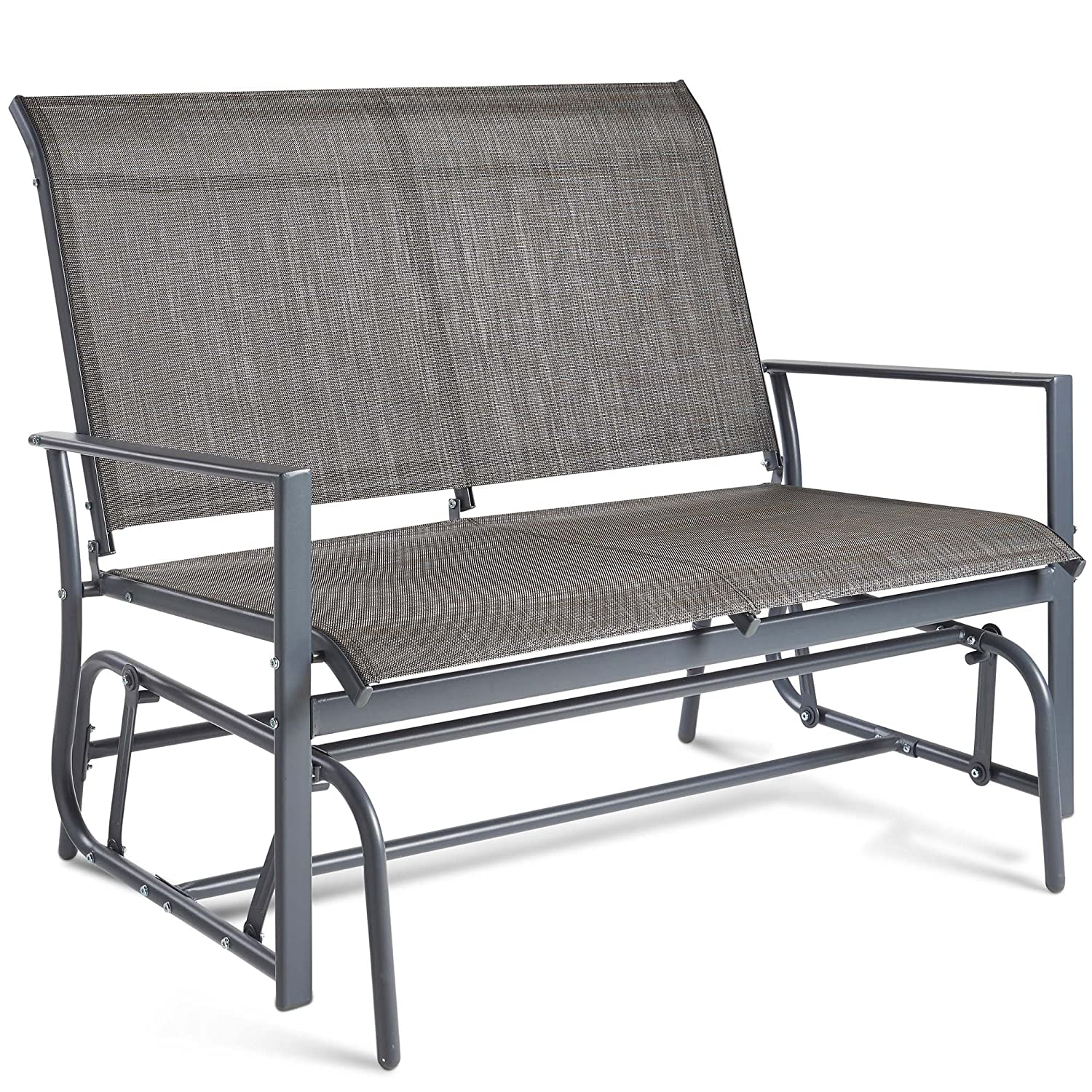 VonHaus 2 Seater Garden Glider Bench – Grey Textoline/Mesh Fabric Swing Rocking Seat – For Outdoor Decking, Balcony, Patio Or Terrace Domu Brands