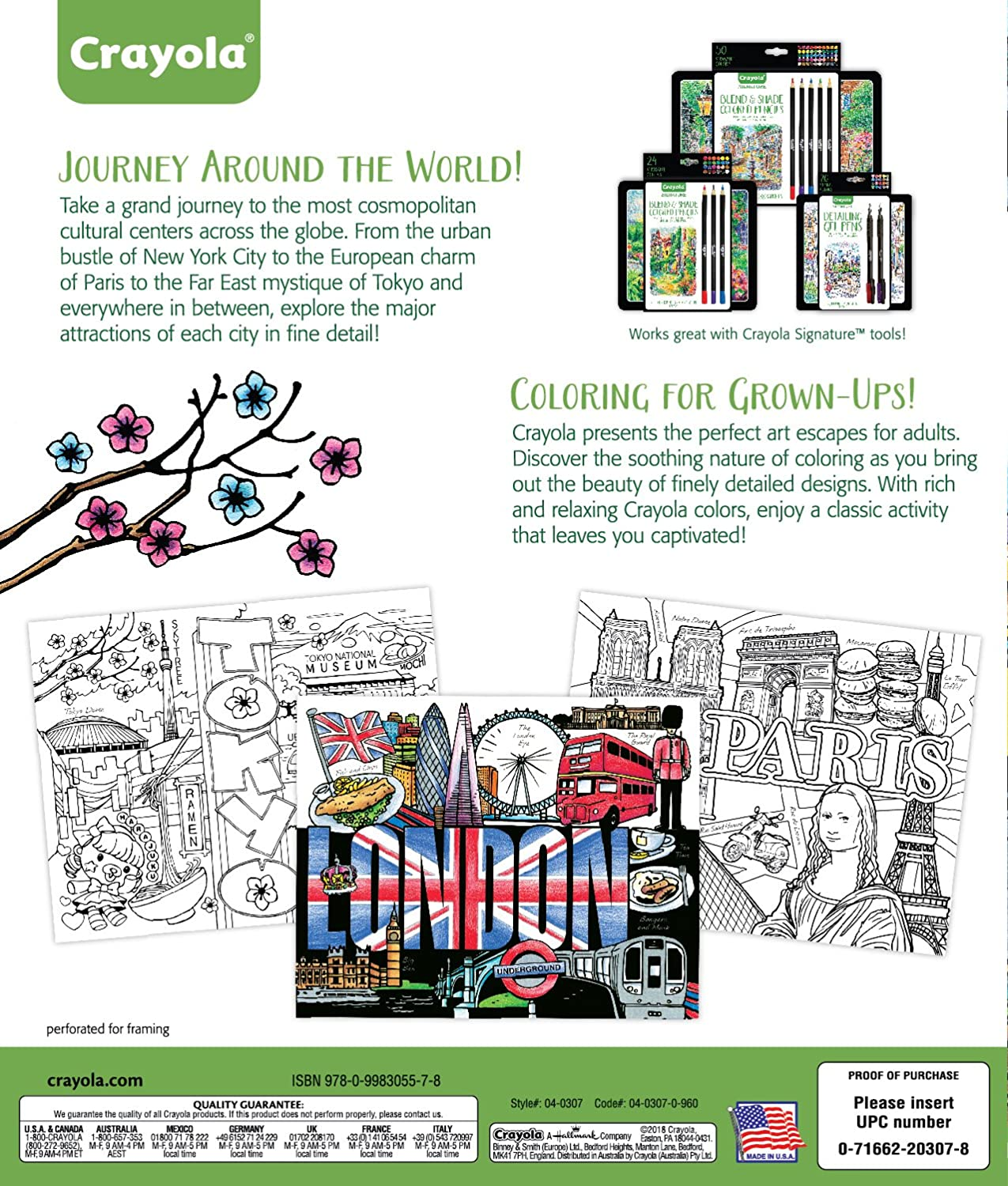 Gift for Teens /& Adult Coloring Enthusiasts 40pgs Binney /& Smith 04-0307 Crayola City Escapes Coloring Pages