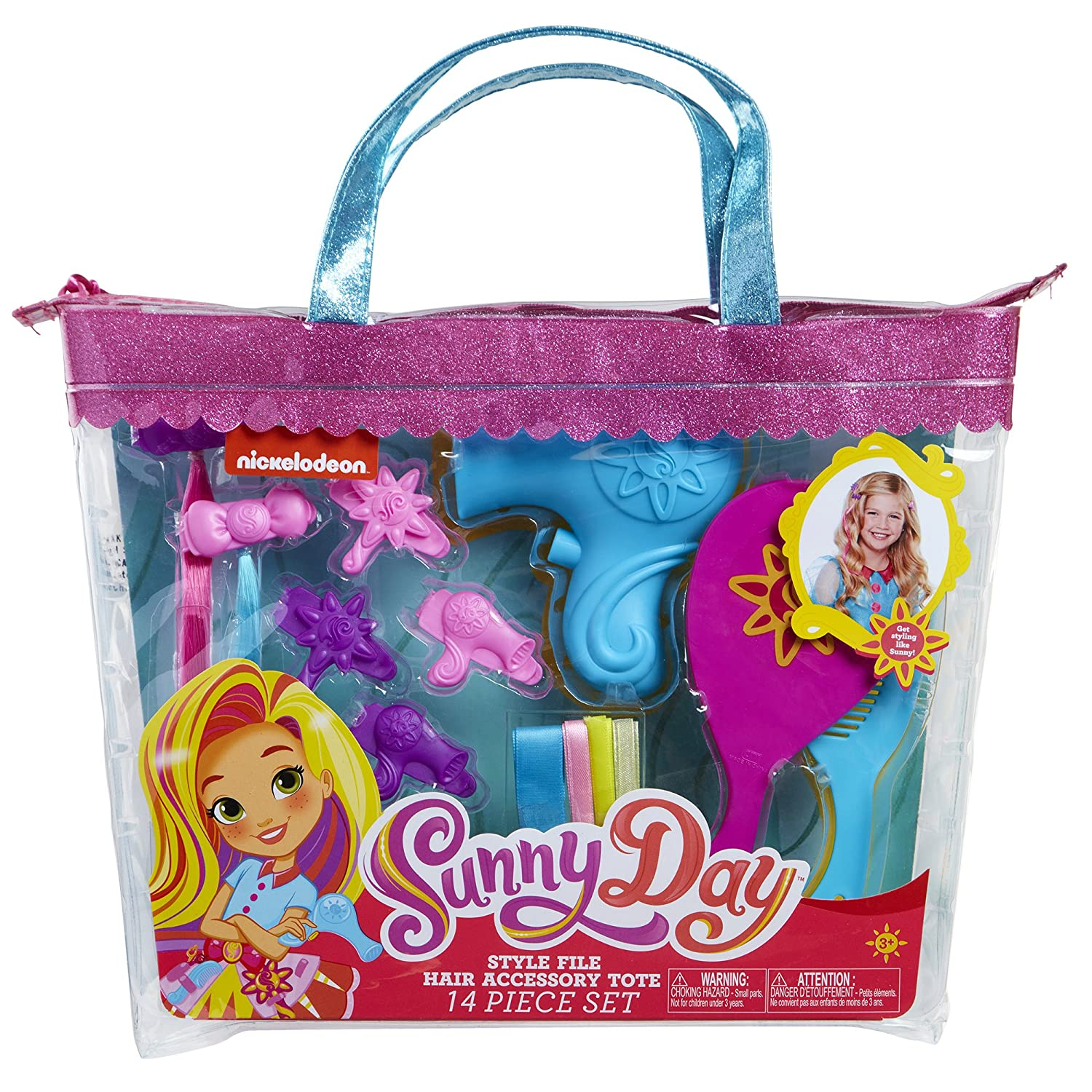 Sunny Day 8215 Sunny Da Hair Style File Accessory Tote Set 14 Piece Pink Blue