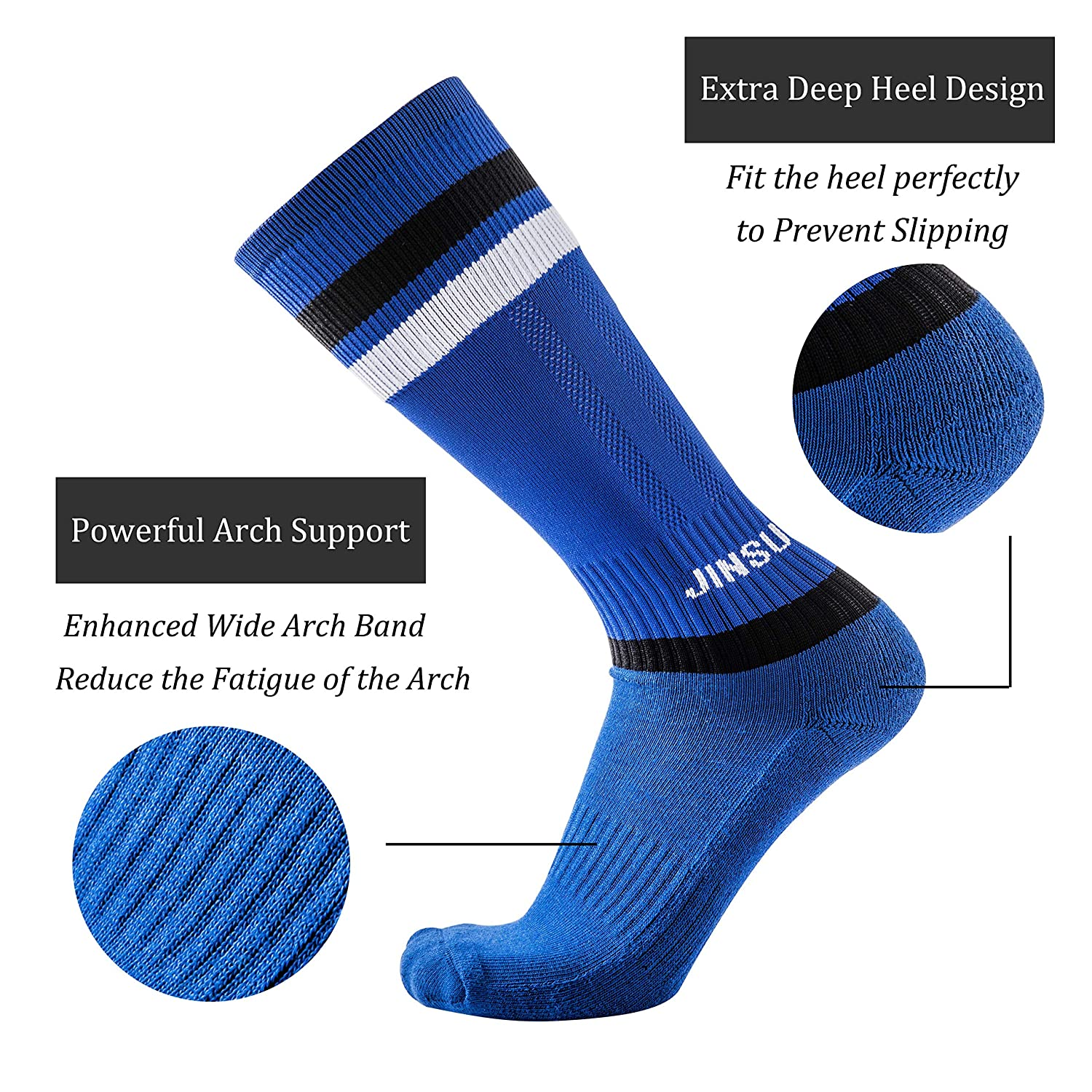 CHICING Mens Athletic High-Performance Crew Sock Cushion Moisture Wicking Comfort Fit 2 Pack