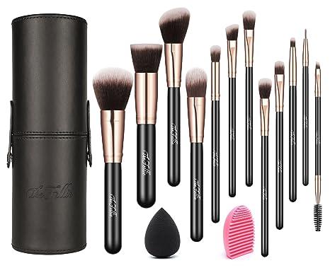 Make up Juego de pinceles con funda de piel, 12 unidades The Fellie Brochas de Maquillaje con Pincel limpiador y verblender Esponja, Plata