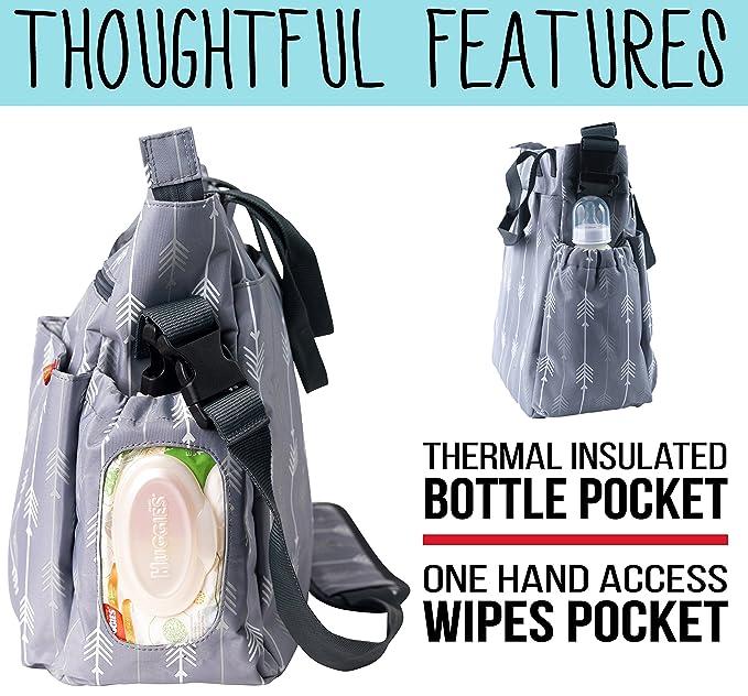 Zohzo - Bolso cambiador de pañales con cambiador, bolsillos aislados, bolsillo para toallitas, material impermeable, correas para cochecito y correa para el ...