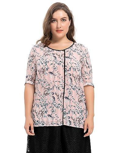 Chicwe Blusas Tops Tallas Grandes Mujeres Camiseta de Gasa Dobby Estampado de Hojas 1X-4X