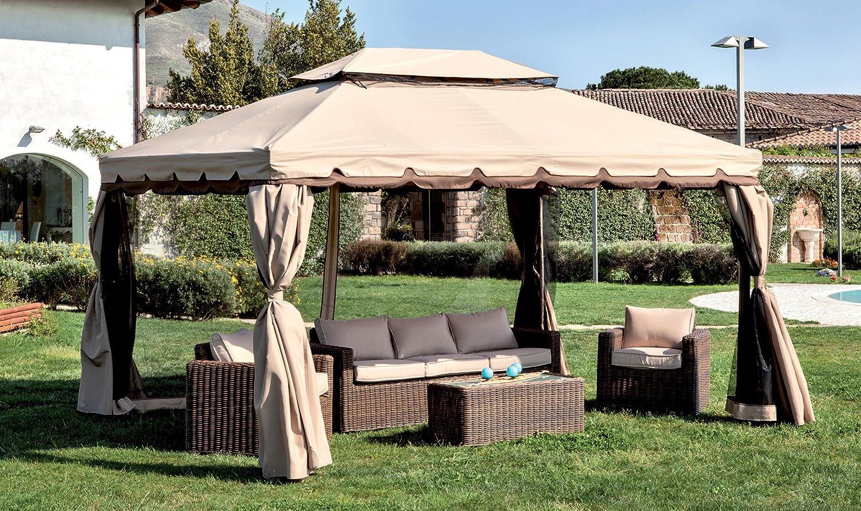 LuxuryGarden – Carpa de aluminio, 360 x 480 cm, con tela de poliéster, cortinas laterales mosquiteras, Alicante XL: Amazon.es: Jardín