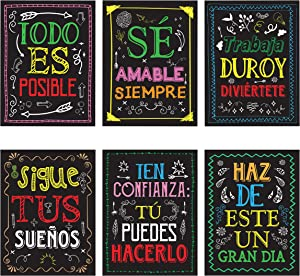 Me Time Joy 6 Spanish Classroom Decoration Posters - Educational and Motivational Spanish Posters for classrooms - Positive Quotes Wall Art Decor Poster…