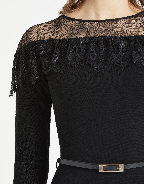 LIPSY Womens Lace Appliquà Dress Black US 10 (UK 14) by LIPSY (Image #7)