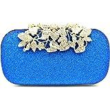 Tooba Handicraft Party Wear Beautiful Diamond Crystal Flower Box Clutch Bag Purse For Bridal, Casual, Party, Wedding