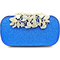 Tooba Handicraft Party Wear Beautiful Diamond Crystal Flower Box Clutch Bag Purse For Bridal, Casual, Party, Wedding