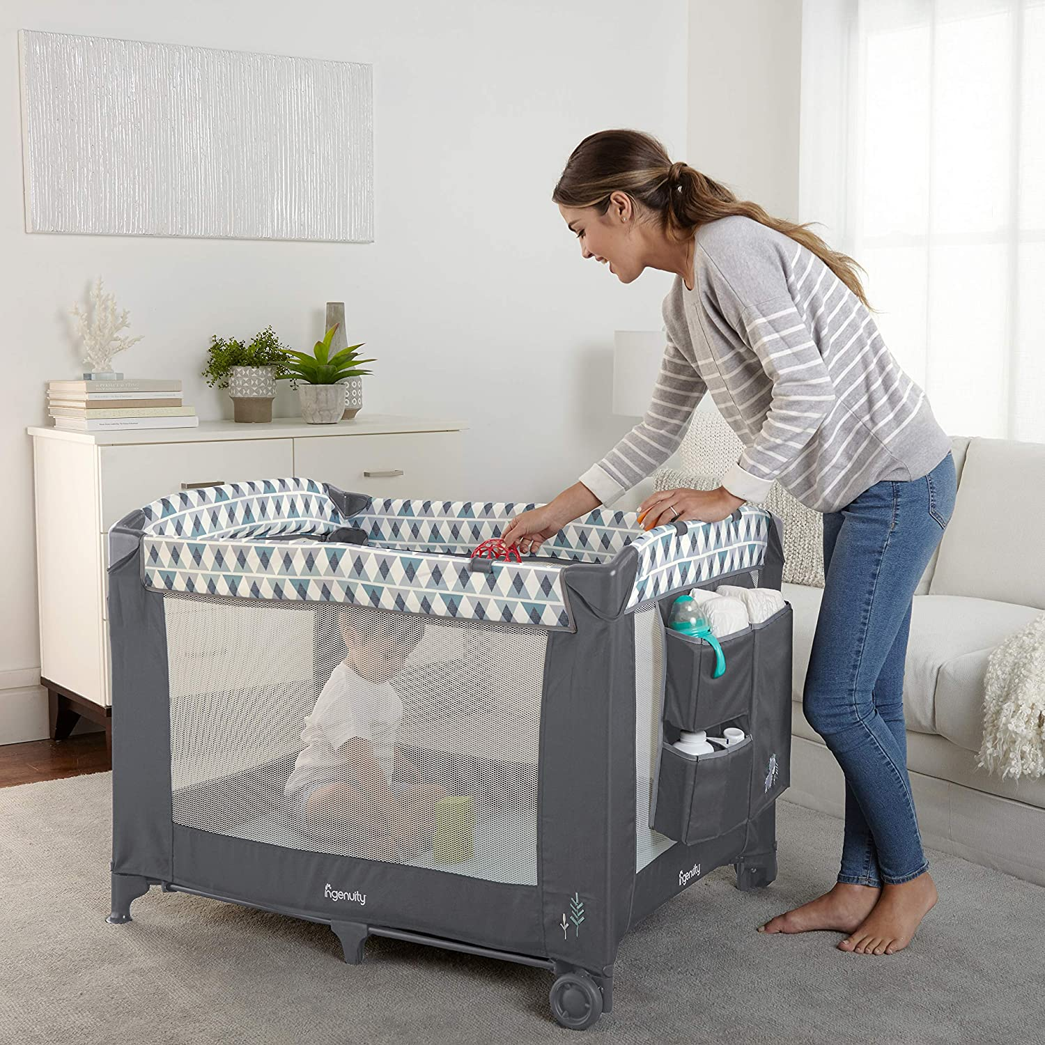 Ingenuity Smart and Simple Play Yard Chadwick, Grey