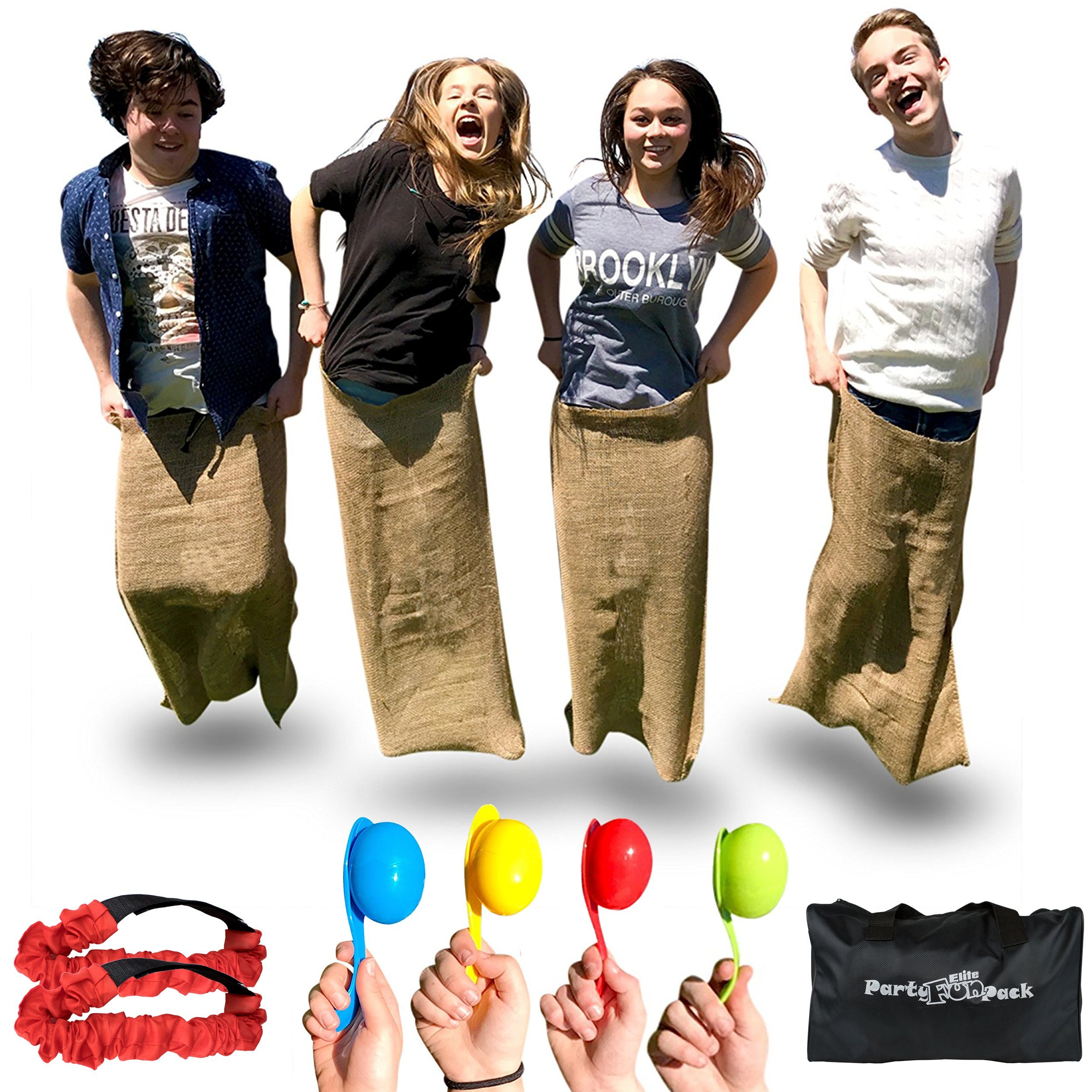 Elite Outdoor Games for Kids - Fun Backyard Games or Birthday Party Games for Kids - 4 Potato Sack Race Bags for Kids, 3 Legged Race Bands and Finish Your Field Day Games with an Egg and Spoon Race by Elite Sportz Equipment