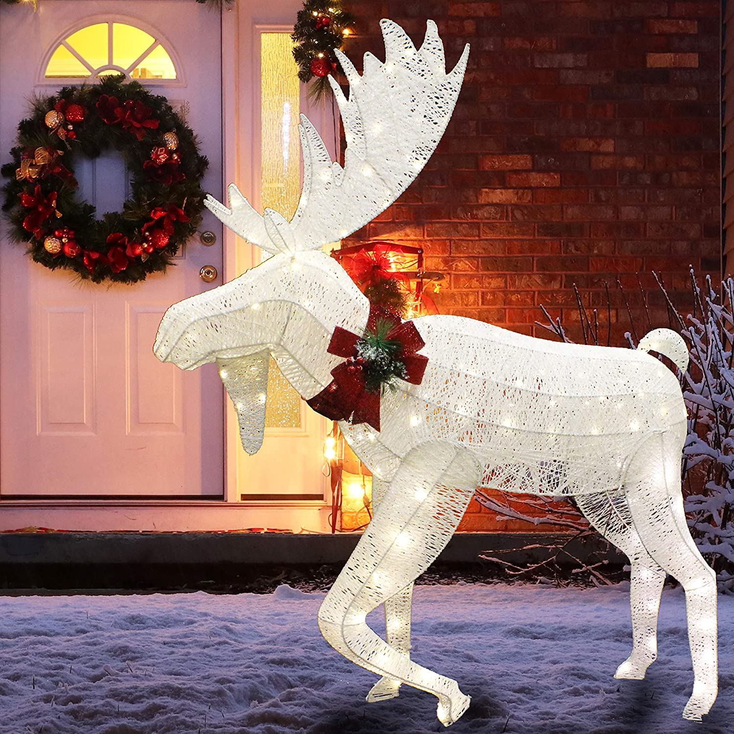 Joiedomi 5ft Cotton Moose LED Yard Light for Christmas Outdoor Yard Garden Decorations, Christmas Event Decoration, Christmas Eve Night Decor