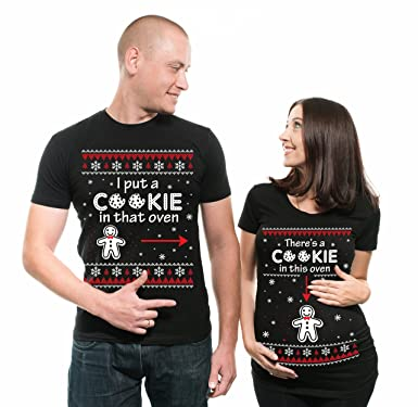 silk road tees christmas couple matching maternity tees pregnancy shirt there is a cookie in that - Christmas Maternity Shirts