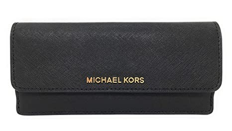 fd1df556606c Michael Kors Jet Set Travel Flat Wallet Black Saffiano Leather ...
