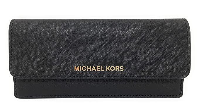 17639c36643931 Michael Kors Jet Set Travel Flat Saffiano Leather Wallet (Black with Silver  Hardware): Amazon.co.uk: Clothing