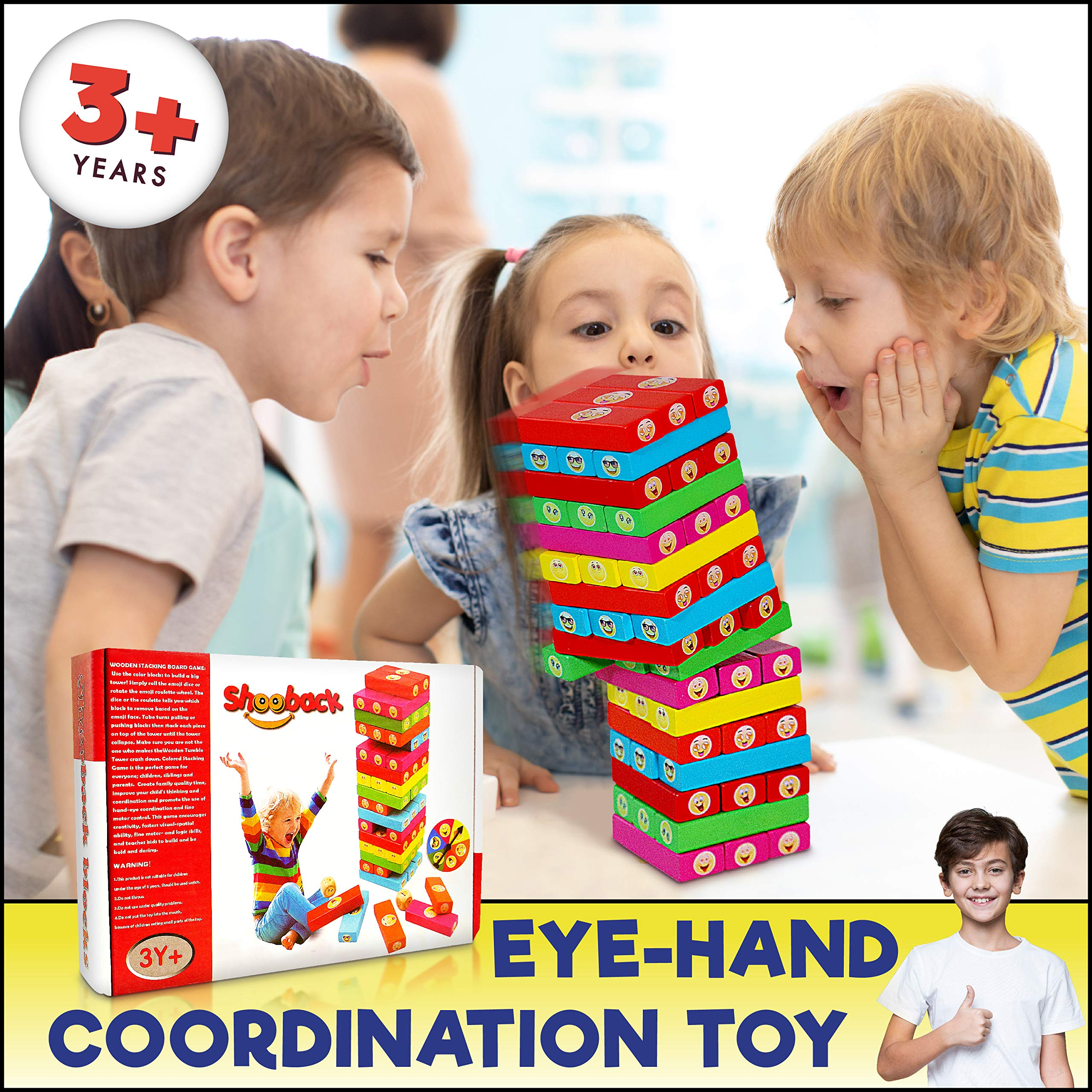 ShooBacK Tumbling Stacking Color Blocks for Kids 51 Pcs Plus Roulette and 2 Dices,Wooden Colored Toppling Stacking Game for Boys and Girls at Age 3 Years Old and up.