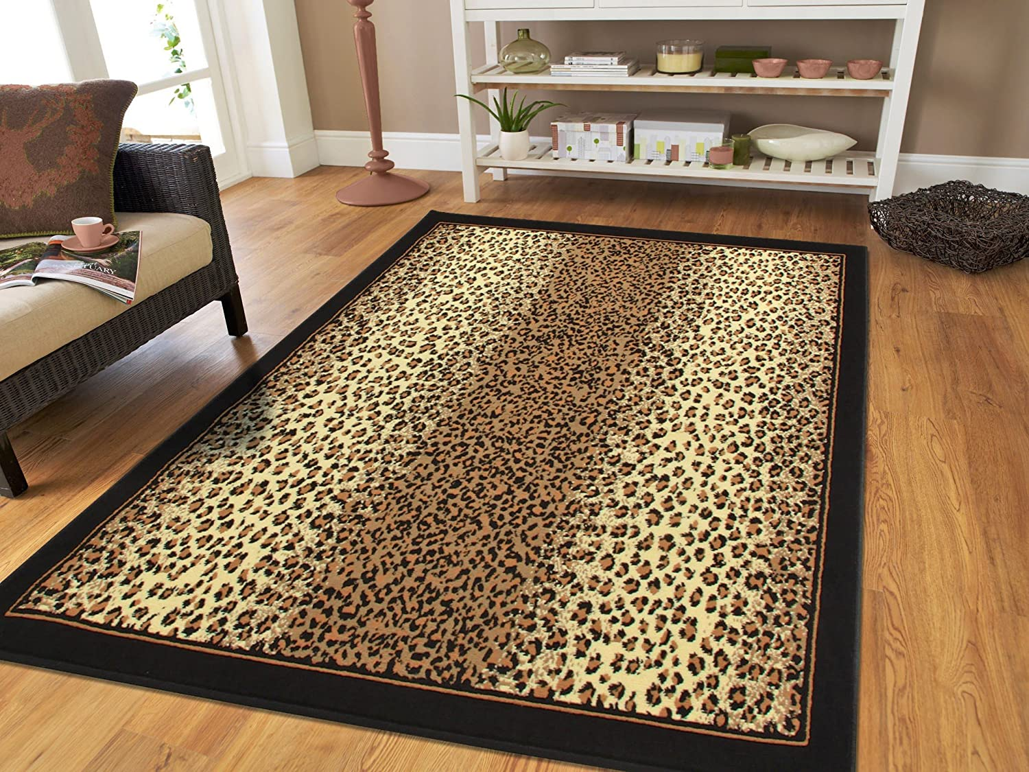 Amazon Com Brown Checkered Cheetah Rug Animal Print Rectangle