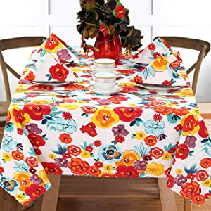 "Ruvanti Table Cloth (60X84"") 6-8 Seats. Wrinkle Free 100 % Cotton Rectangle Tablecloth, Washable / Reusable Multi Color Flowers Table Cloths, Table Cover for Christmas / Thanks Giving Dinners."
