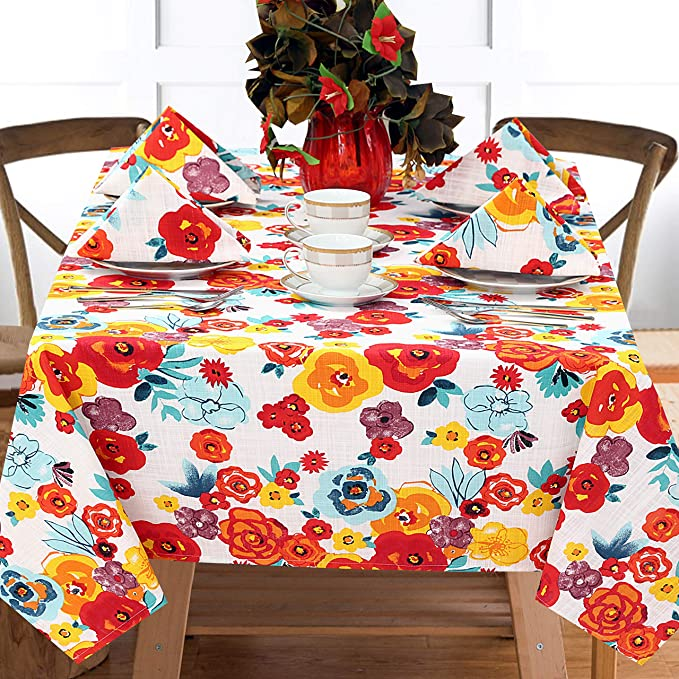 Ruvanti Table Cloth 60x70 4 6 Seats Wrinkle Free 100 Cotton Rectangle Tablecloth Washable Reusable Multi Color Flowers Table Cloths Table Cover For Christmas Thanks Giving Dinners Kitchen Dining Amazon Com