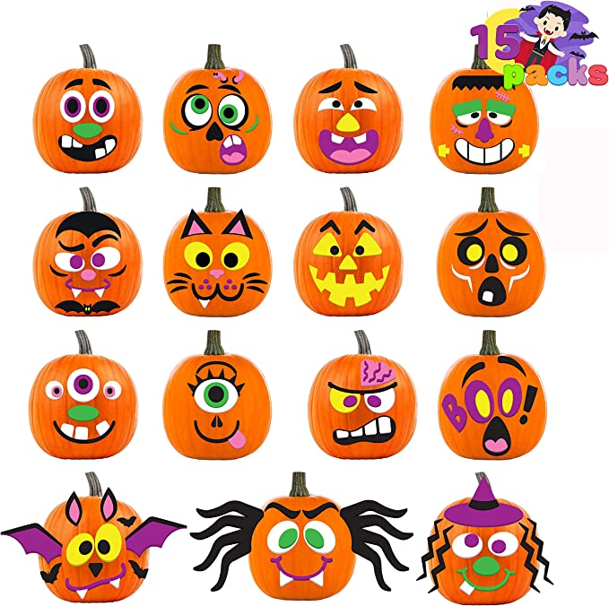 Joyin 15 Packs Pumpkin Decorating Foam Stickers In 15 Designs Halloween Party Supplies Trick Or Treat Party Favors Kitchen Dining