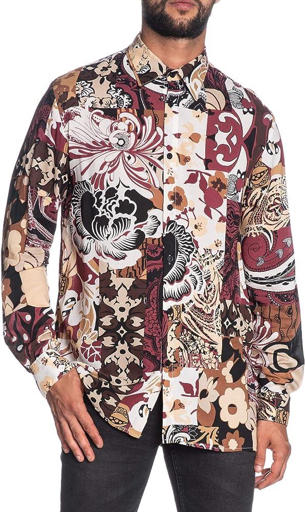 Imperial - Camisa de Manga Larga para Hombre, diseño de fantasía, Color Burdeos/Crema/Negro Burdeos S: Amazon.es: Ropa y accesorios