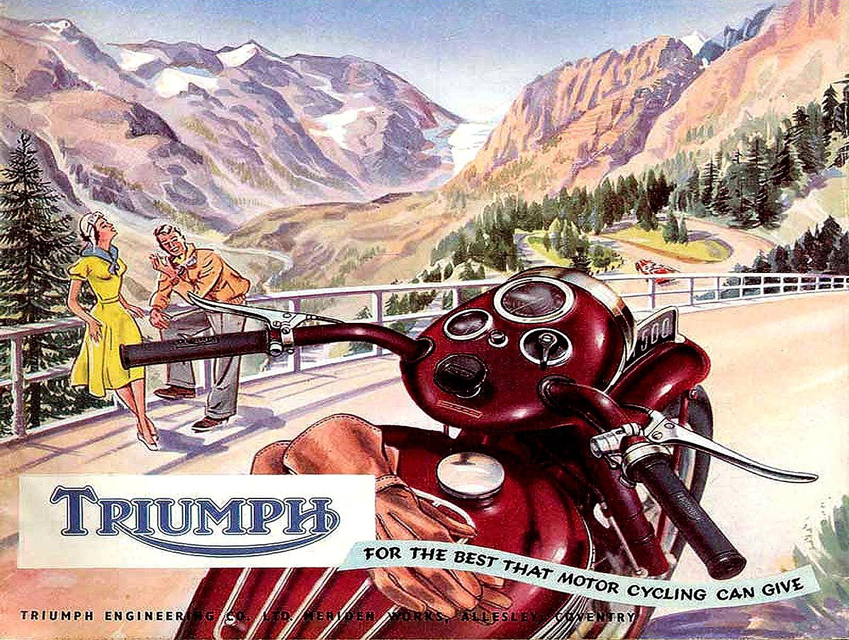 Triumph Moto nostalgique Boîte métal Décoration murale plaque fantaisie Cadeau publicitaire ALUMINIUM SIGN