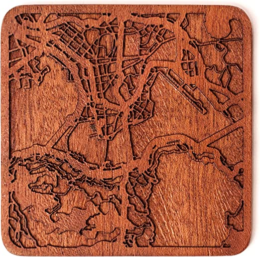 Vienna map coaster One piece  wooden coaster Multiple city IDEAL GIFTS