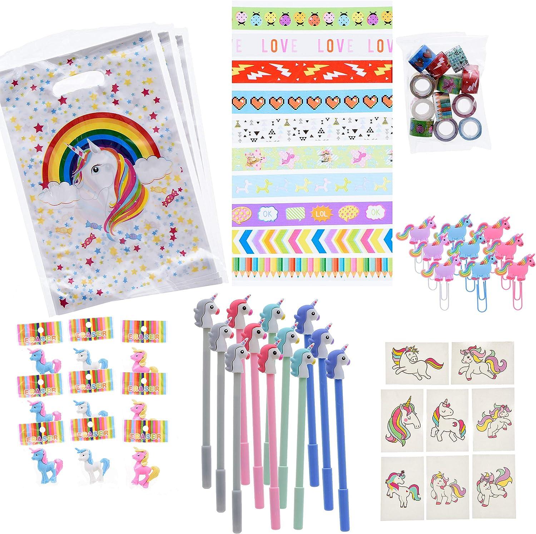 Unicorn Party Pack – 72 piezas – bolígrafos, bolsas, gomas de ...