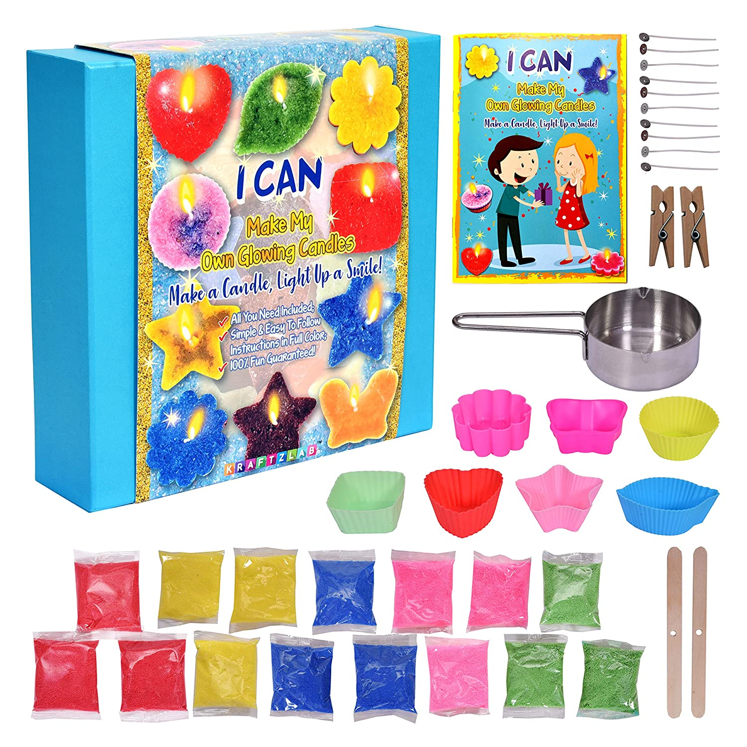 KRAFTZLAB Ultimate Candle Making Kit Supplies – Includes 5 Colors Candle Wax, 7 Candle Molds, 10 Wicks, 1 Melting Cup and More – Great DIY Starter Kit for Both Kids and Adults