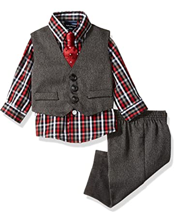 9ee1bc632 Nautica Baby Boys 4-Piece Set with Dress Shirt, Vest, Pants, and