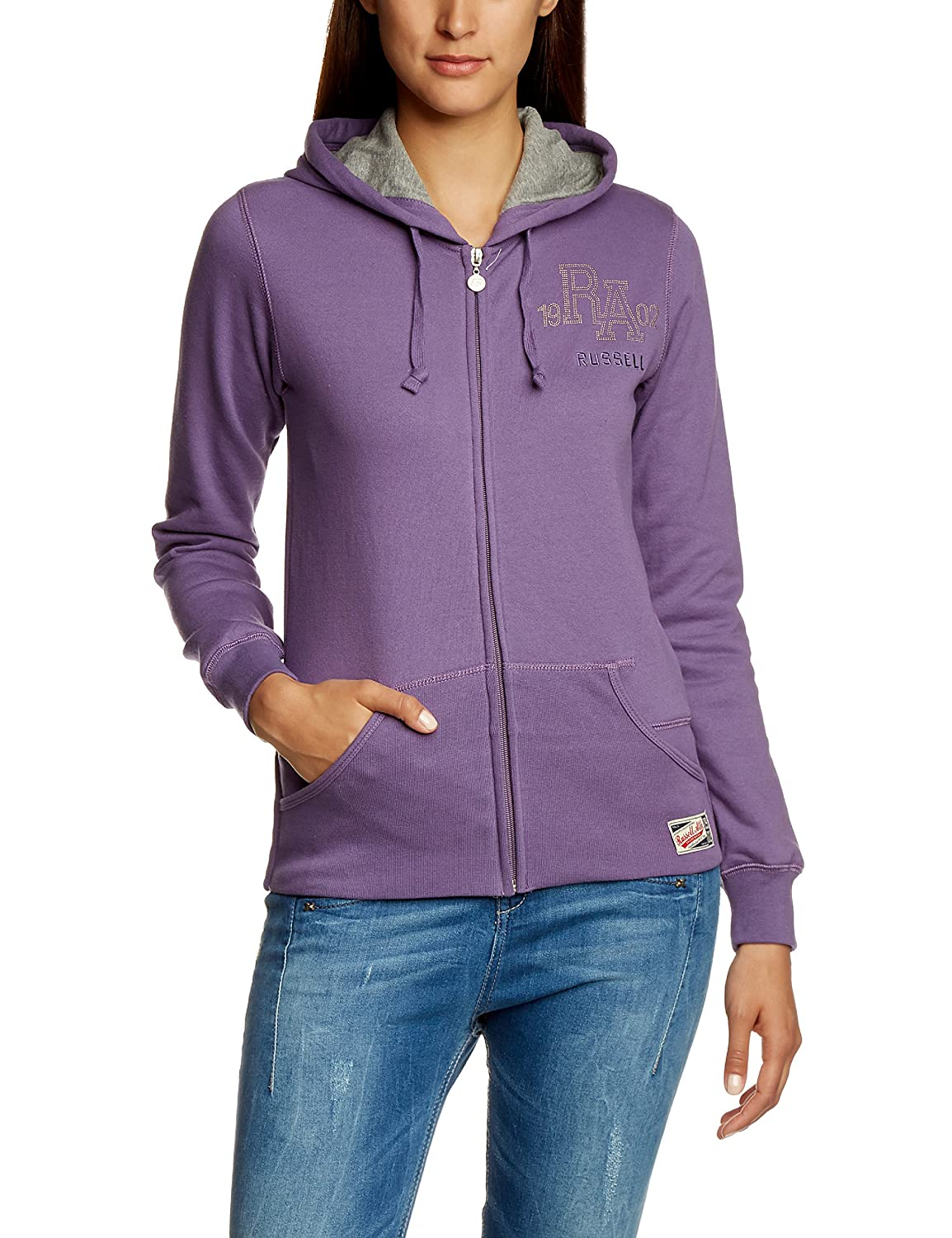 Russell Athletic Hoodie Zip Through Sudadera, Mujer