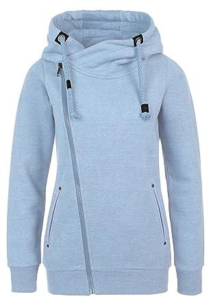 Sublevel Sweatjacke mit Zipper & Kapuze | Cooler Damen Hoodie - schräger  Reißverschluss, Uni-