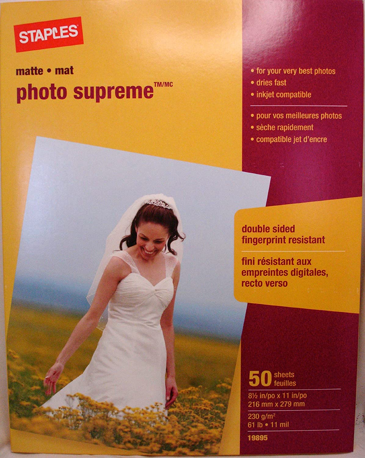 Staples Photo Supreme Paper, 8 1/2\ x 11\, Double Sided Matte, 50/Pack 8 1/2\ x 11\