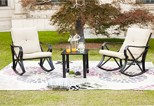 LOKATSE HOME 3-Piece Outdoor Patio Rocking Steel Furniture Bistro Set