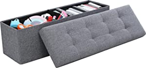 "Ornavo Home Foldable Tufted Linen Large Storage Ottoman Bench Foot Rest Stool/Seat - 15"" x 45"" x 15"" (Gray)"