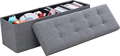 Ornavo Home Foldable Tufted Linen Large Storage Ottoman Bench Foot Rest Stool/Seat
