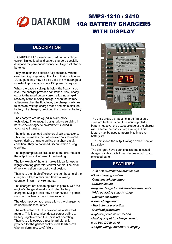 Amazon.com: DATAKOM SMPS-2410 (24V/10A) Generator Start Battery ...
