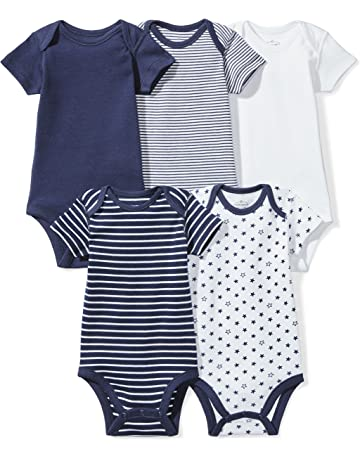 5cde121d0 Moon and Back Baby Set of 5 Organic Short-Sleeve Bodysuits
